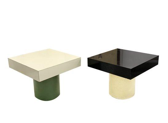 Tables Basses En Formica Noir Et Blanc Italie 1970s Set De 2
