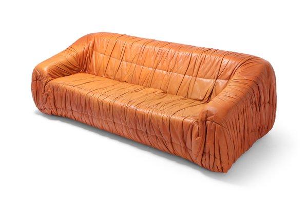 Postmodern Cognac Leather Piumino Sofa by De Pas, D'Urbino & Lomazzi, 1970s