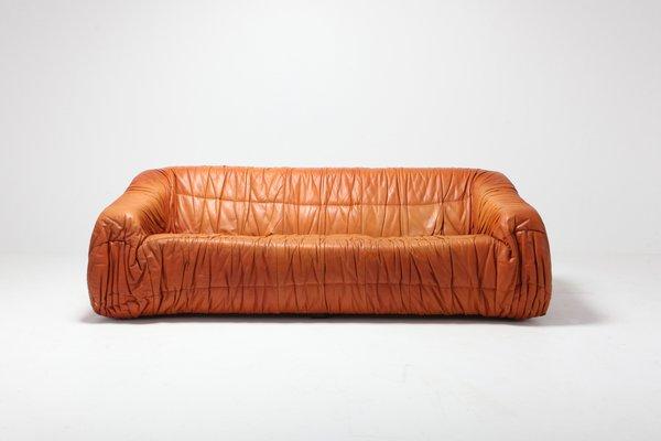 best sneakers cb978 ac25f Postmodern Cognac Leather Piumino Sofa by De Pas, D'Urbino & Lomazzi, 1970s