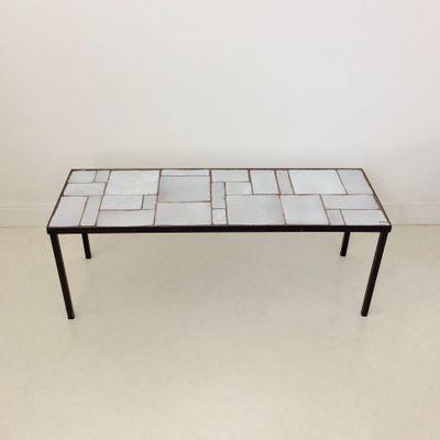 French White Ceramic Coffee Table 1950s