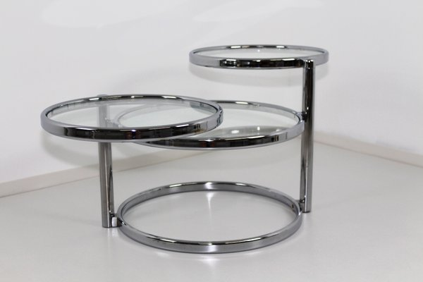 Excellent Chrome Glass Swivel 3 Tier Coffee Table 1970S Cjindustries Chair Design For Home Cjindustriesco