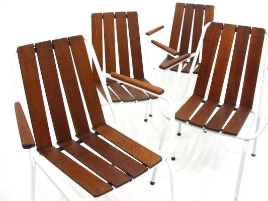 Sedie Da Giardino In Teck.Sedie Da Giardino In Teak Danimarca Anni 60 Set Di 4 In Vendita