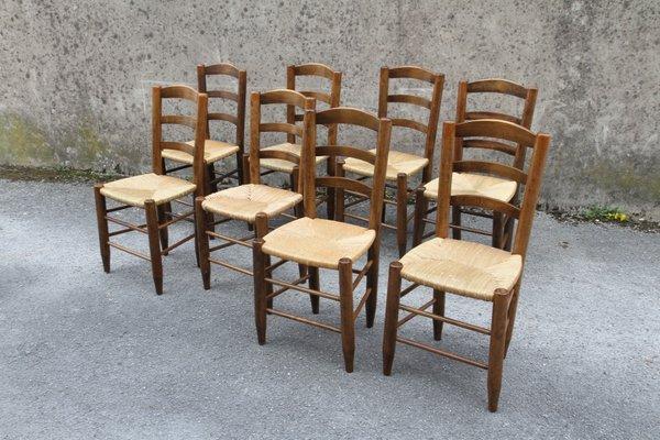Sedie Legno E Paglia.Sedie Vintage In Legno E Paglia Francia Anni 50 Set Di 8 In