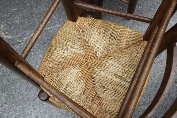 Paglia Per Sedie.Sedie Vintage In Legno E Paglia Francia Anni 50 Set Di 8