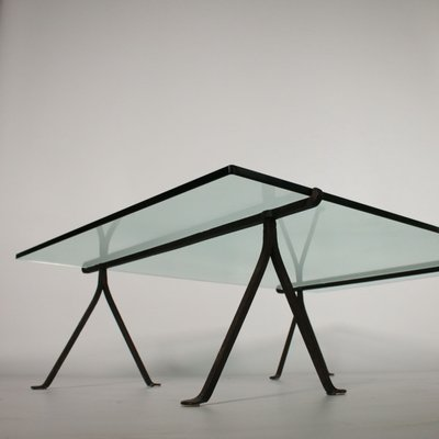 Italian Glass Coffee Table.Mid Century Italian Wrought Iron Glass Coffee Table
