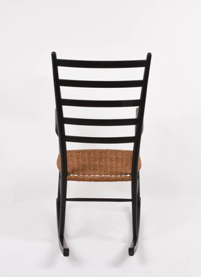 Scandinavian Black Rocking Chair With Rope Seat 1950s 2