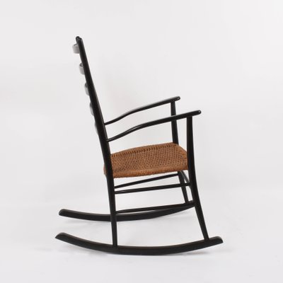 Swell Scandinavian Black Rocking Chair With Rope Seat 1950S Machost Co Dining Chair Design Ideas Machostcouk
