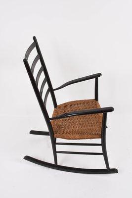 Pleasing Scandinavian Black Rocking Chair With Rope Seat 1950S Customarchery Wood Chair Design Ideas Customarcherynet