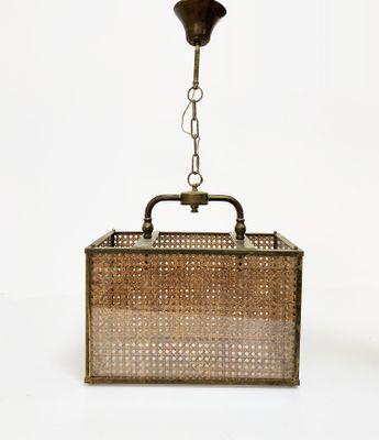 Lampes à Suspension en Laiton, Osier et Verre, Italie, 1950s, Set de ...