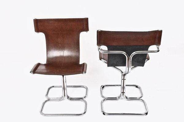Sedie Mid-Century moderne in pelle e metallo cromato di Guido Faleschini,  Italia, anni \'70, set di 4