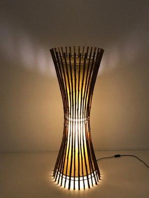 Mid Century Bamboo Rattan Floor Lamp