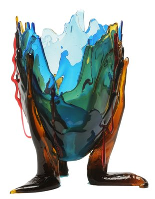 Design Gaetano Pesce.Clear Special Extracolor Vase By Gaetano Pesce For Fish Design
