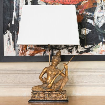 French Br Birman Buddha Figure Table Lamp With Wood Base 1960s 1