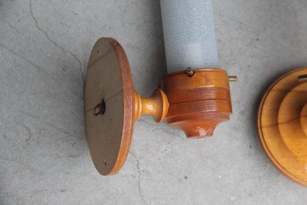 Applique rotonda in legno e vetro di murano anni in vendita