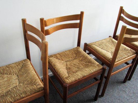 Sillas de comedor Mid-Century modernas con asientos de mimbre. Juego ...