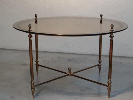 Table Basse Ronde Dorée De Maison Jansen 1950s