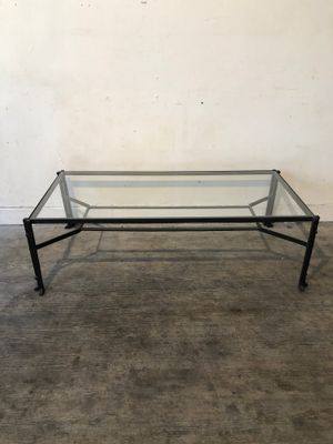 Vintage Glass And Hammered Metal Coffee Table 1