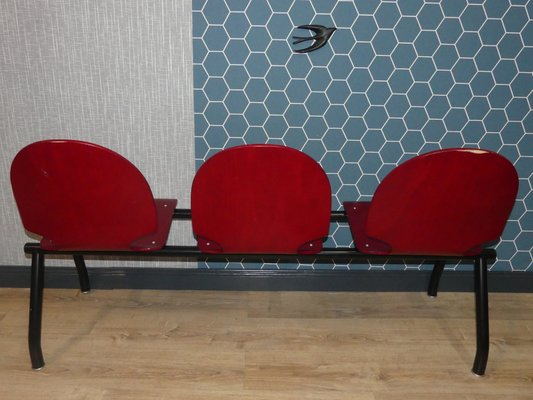 Marvelous Vintage Industrial Waiting Room 3 Seater Red Bench Unemploymentrelief Wooden Chair Designs For Living Room Unemploymentrelieforg