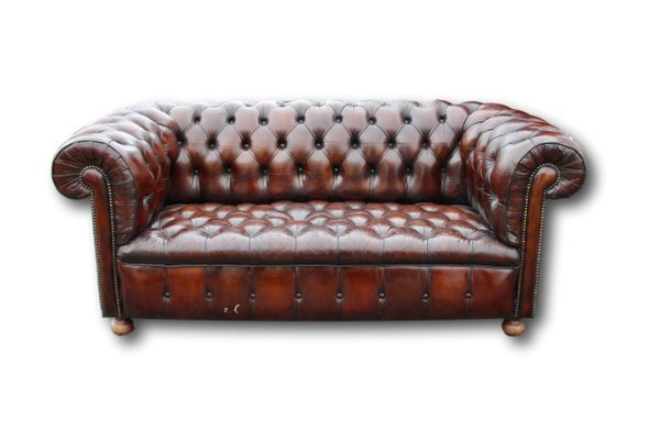 Brown Button-Backed Leather Chesterfield Sofa, 1920s for sale at Pamono