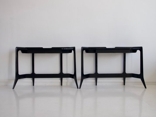 Black Lacquered Wood Console Table