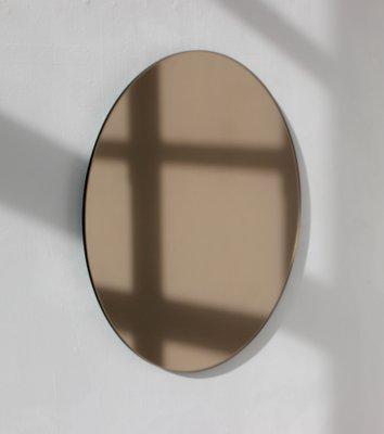 Großer Runder Bronzefarbener Orbis Spiegel Von Alguacil Perkoff Ltd