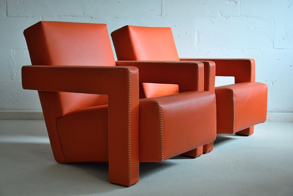 Groovy Utrecht Hermes Orange Leather Armchairs By Gerrit Rietveld For Cassina 1990S Set Of 2 Gmtry Best Dining Table And Chair Ideas Images Gmtryco