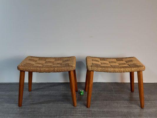 Sgabelli vintage in legno e corda intrecciata anni set di