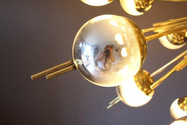 Vintage Brass, Silver, and Mercury Murano Glass Sputnik Chandelier