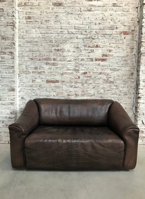 Ds 47 Chocolate Brown Neck Leather Sofa From De Sede 1970s