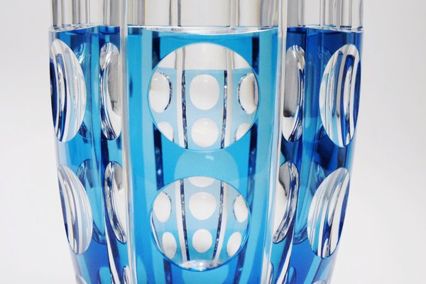 Large Art Deco Style Blue Cerbere Glass Vase By Charles Graffart For Val Saint Lambert 1948 For Sale At Pamono