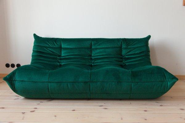 Togo 3 Seater Bottle Green Velvet Sofa