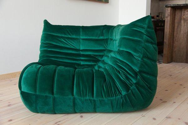 Togo Bottle Green Velvet Corner Sofa by Michel Ducaroy for Ligne ...