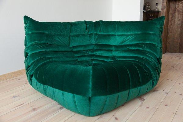 Togo Bottle Green Velvet Corner Sofa By