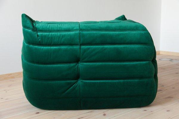Togo Bottle Green Velvet Corner Sofa by Michel Ducaroy for Ligne Roset,  1970s