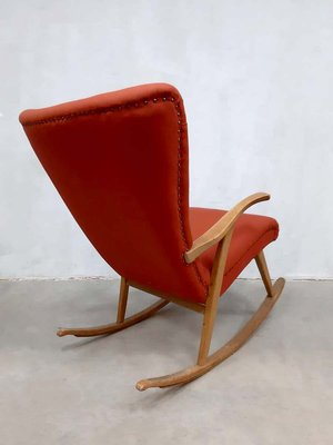 Marvelous Mid Century Swedish Wingback Rocking Chair 1960S Customarchery Wood Chair Design Ideas Customarcherynet