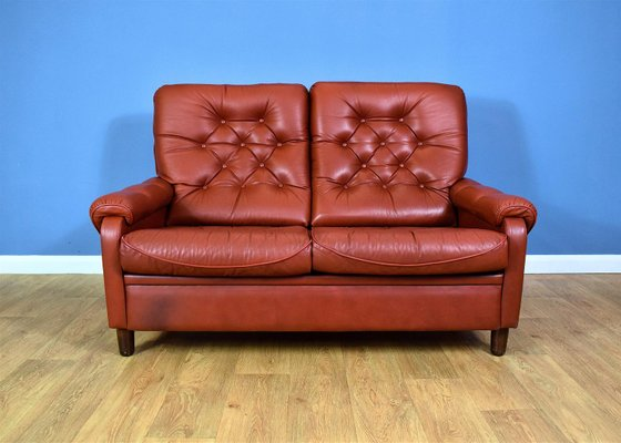 Vintage Danish Red Leather High-back 2-Seater Sofa
