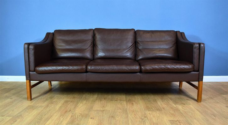 Mid-Century Danish Brown Leather 3-Seater Sofa from Skippers for ...