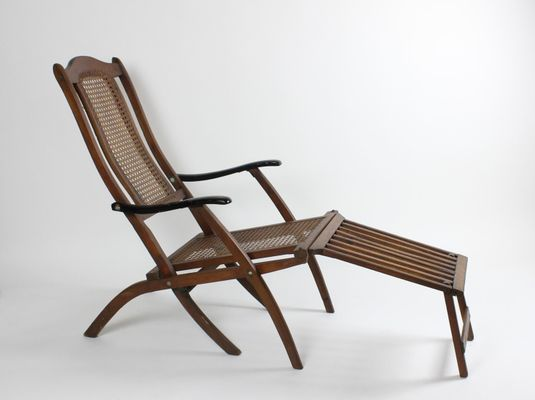 Vintage Mahogany Deck Lounge Chair 1920s 1