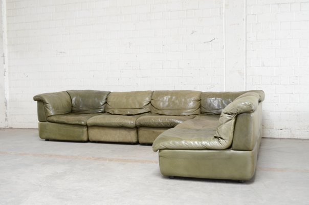 Rolf Benz Bank Vintage.Vintage Green Leather Modular Sofa From Rolf Benz 1970s