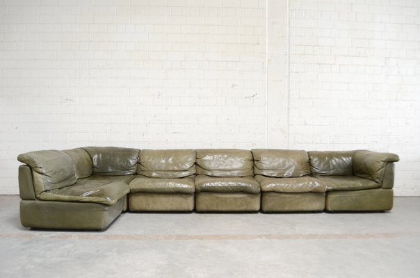 Vintage Green Leather Modular Sofa From Rolf Benz 1970s