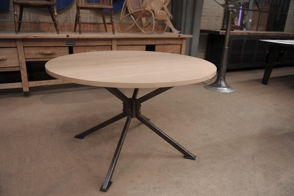 Vintage Metal And Oak Dining Table 1970s 1