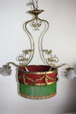 de de bronce francesa Époque doradodécada 1890 Lámpara Belle colgante RLAj45