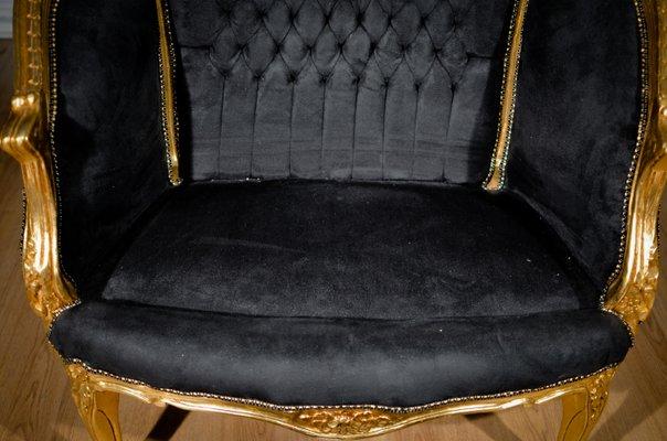 Small Golden Leaf Wood & Black Velvet Sofa, 1930s