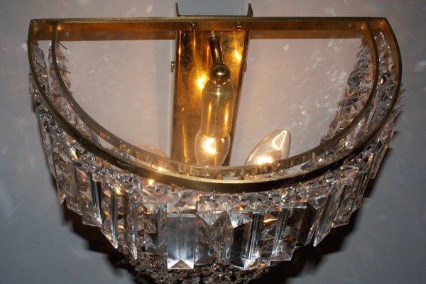 Applique antiche in cristallo e ottone di ernst palme germania