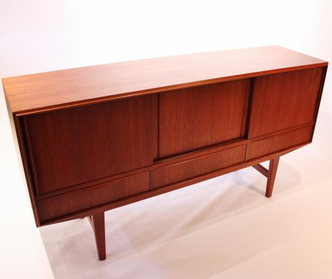 Low Teak Sideboard With Sliding Drawers Shelves 1960s For Sale At