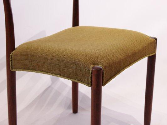 Danish Rosewood U0026 Green Fabric Dining Chairs, 1960s