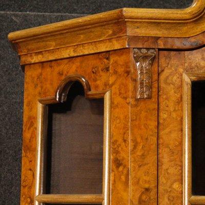 Dutch Burl Walnut, Beech And Mahogany Wood Display Cabinet, 1950s