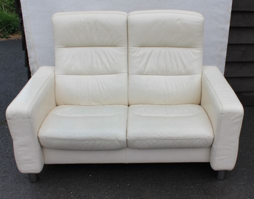 White Leather 2 Seater Reclining Sofa 1960s 1