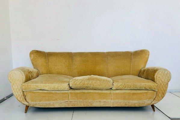Outstanding Mid Century Italian Mustard Color Velvet Sofa 1950S Machost Co Dining Chair Design Ideas Machostcouk