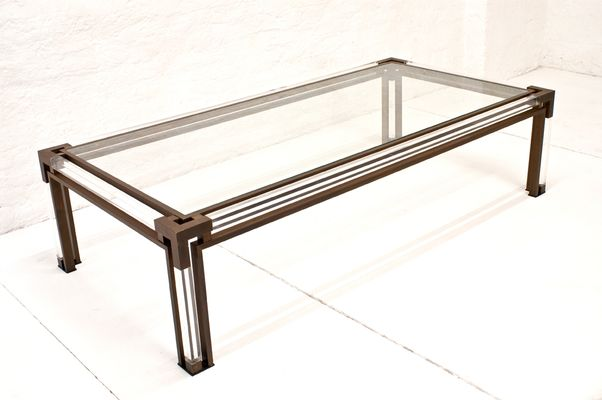 Large Vintage Italian Br And Lucite Coffee Table 1970s